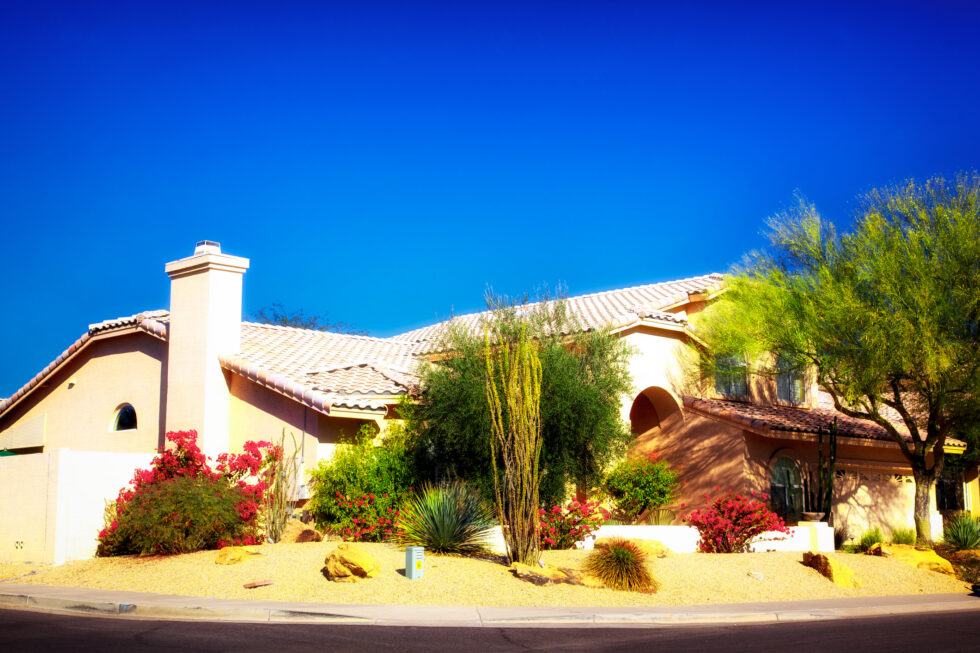 Dreamy Beautiful Tiled Roof Mission Style Desert Landscaped